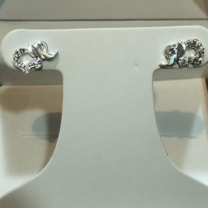 Jewelry - Sterling Silver Elephant Earrings with CZs